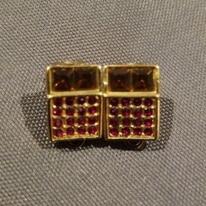 Gold Jewel Clip On Earrings